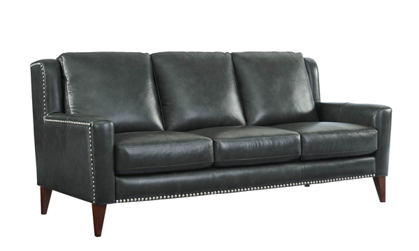 Contemporary Black Leather Sofa with Nail Head Trim|The Dump Luxe