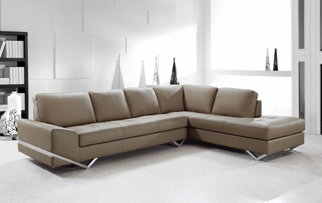 Contemporary Sectional Sofa in Latte Leather - Modern - Living Room