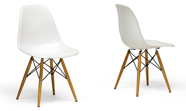 White Modern Dining Chair Using Wooden Accent Base Leg And Unique