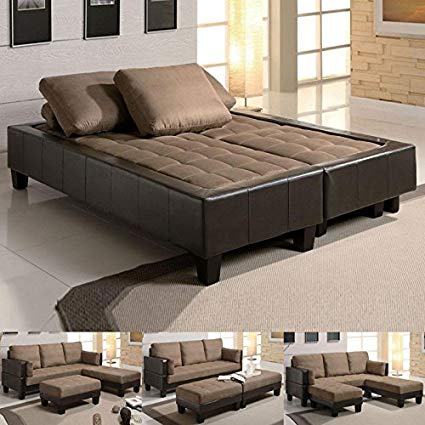 Amazon.com: Fulton Tan Microfiber Convertible Sofa Bed Couch Sleeper