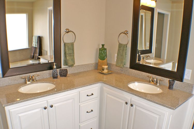 L-Shaped bathroom vanity - Double sinks | Dream Home | L shaped