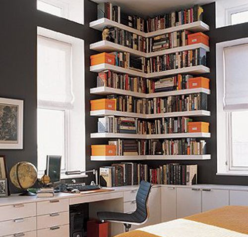Small corner bookshelves/library. Great use of the space. This look