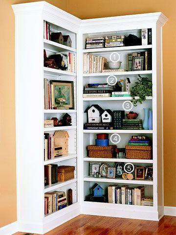 Bookcase Basics | Ideas for the House | Pinterest | Corner