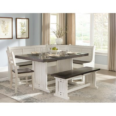 Two-Tone French Country 4 Piece Corner Dining Set - Bourbon County