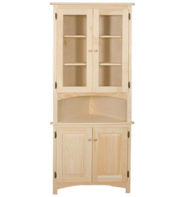 AMISH Unfinished Solid Pine CORNER HUTCH China Cabinet Country Style