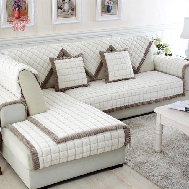 White grey plaid plush long fur sofa cover slipcovers fundas de sofa