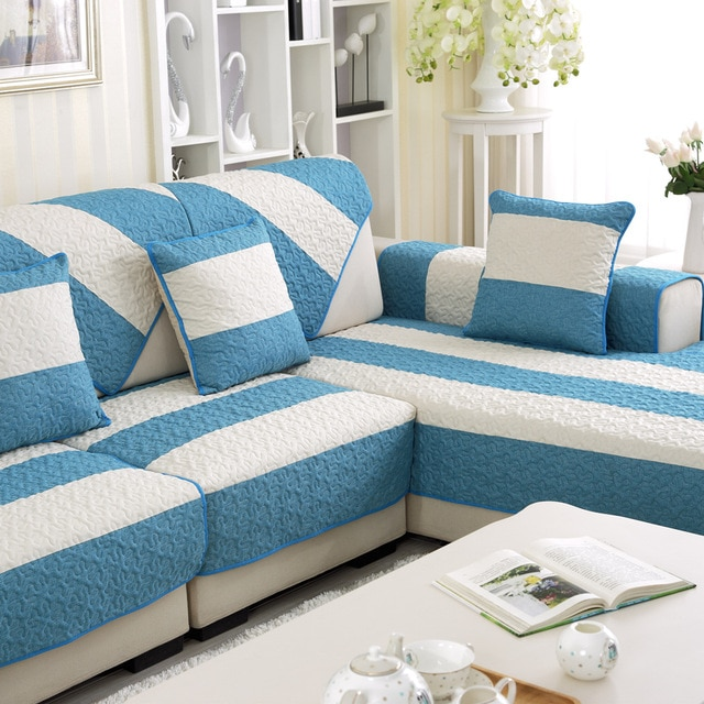 Summer Linen Couch Covers for Home Blue Strip Pattern Sofa