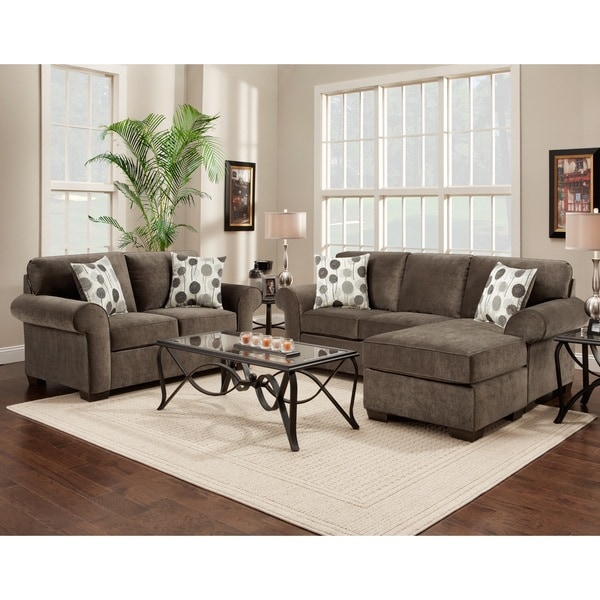 Shop Fabric Sectional Sofa and Loveseat Set with Pillows, Elizabeth