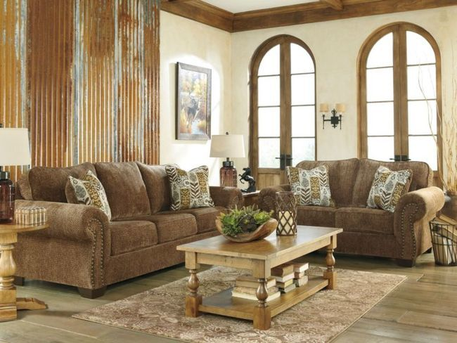WATFORD - OLD WORLD BROWN CHENILLE SOFA COUCH LOVESEAT SET LIVING
