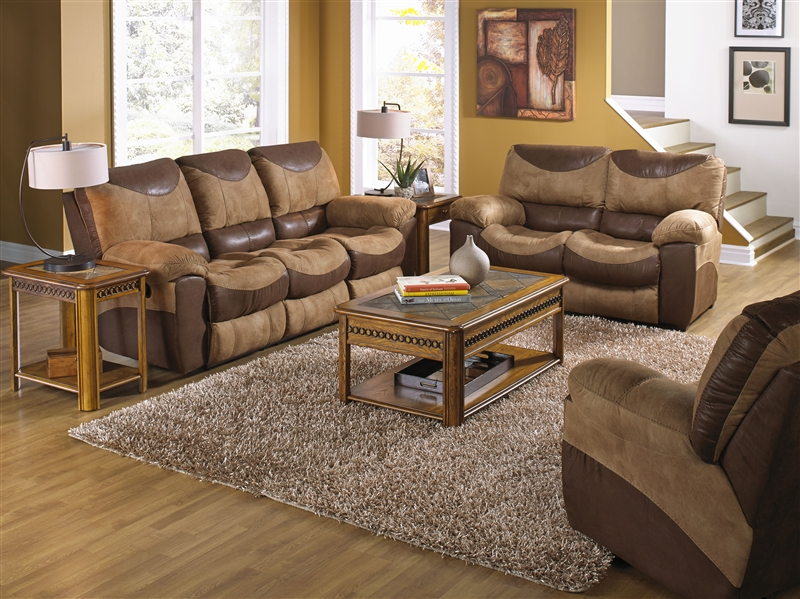Portman 2 Piece Reclining Sofa, Reclining Loveseat Set in Two Tone