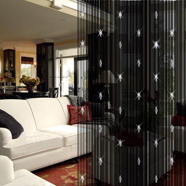 Elegant String Curtain With 3 Beads Tassels Door Window Panel Room