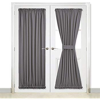 Amazon Com NICETOWN Grey French Door Curtains Blackout Patio