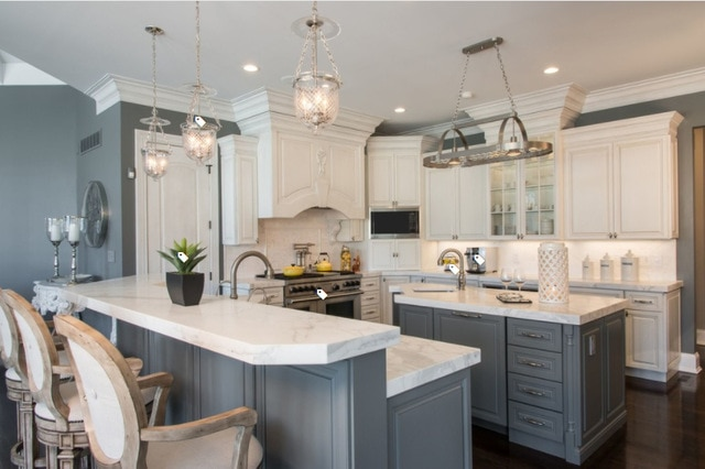 French style white custom kitchen cabinetry and kitchen cabinet