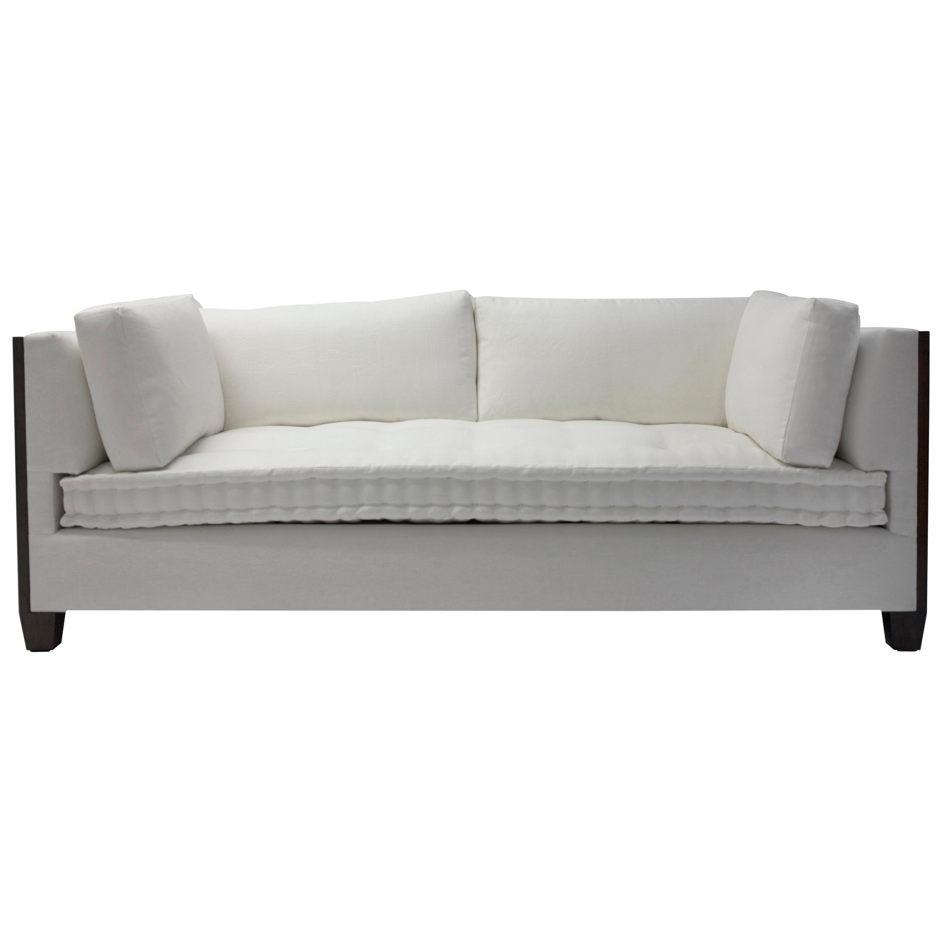 World-Class Custom Sofa With Wood Surround at Arms With Loose Back