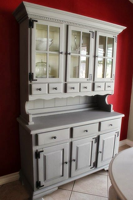Gray dining room hutch/cabinet makeover | Dining Rooms | Pinterest