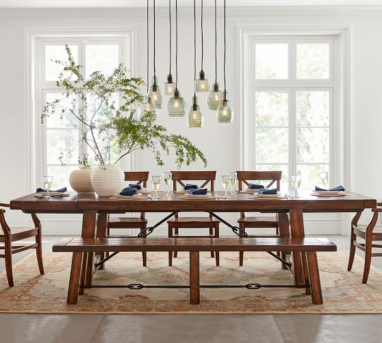 Benchwright Extending Dining Table, Alfresco Brown | Pottery Barn
