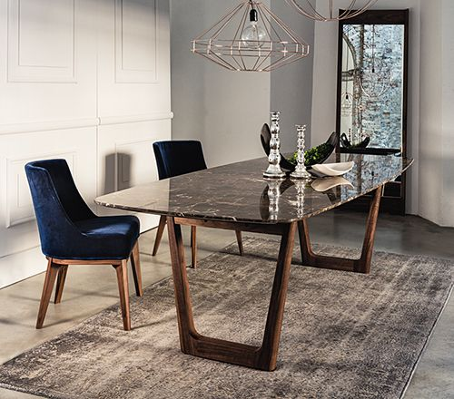 Dining table with emperador marble top and walnut base. | tables