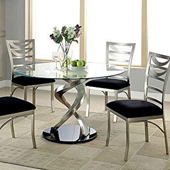 Amazon.com - 247SHOPATHOME IDF-3729T-5PC Dining-Room-Sets, Silver