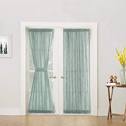 Amazon.com: French Door Panel Curtains Privacy Sheer Door Curtain