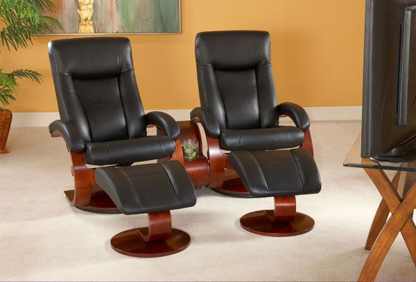 Mac Motion Euro Double Recliner and Ottoman Set in Black Leather