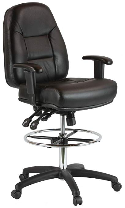Amazon.com: Harwick Premium Leather Drafting Chair with Arms Black