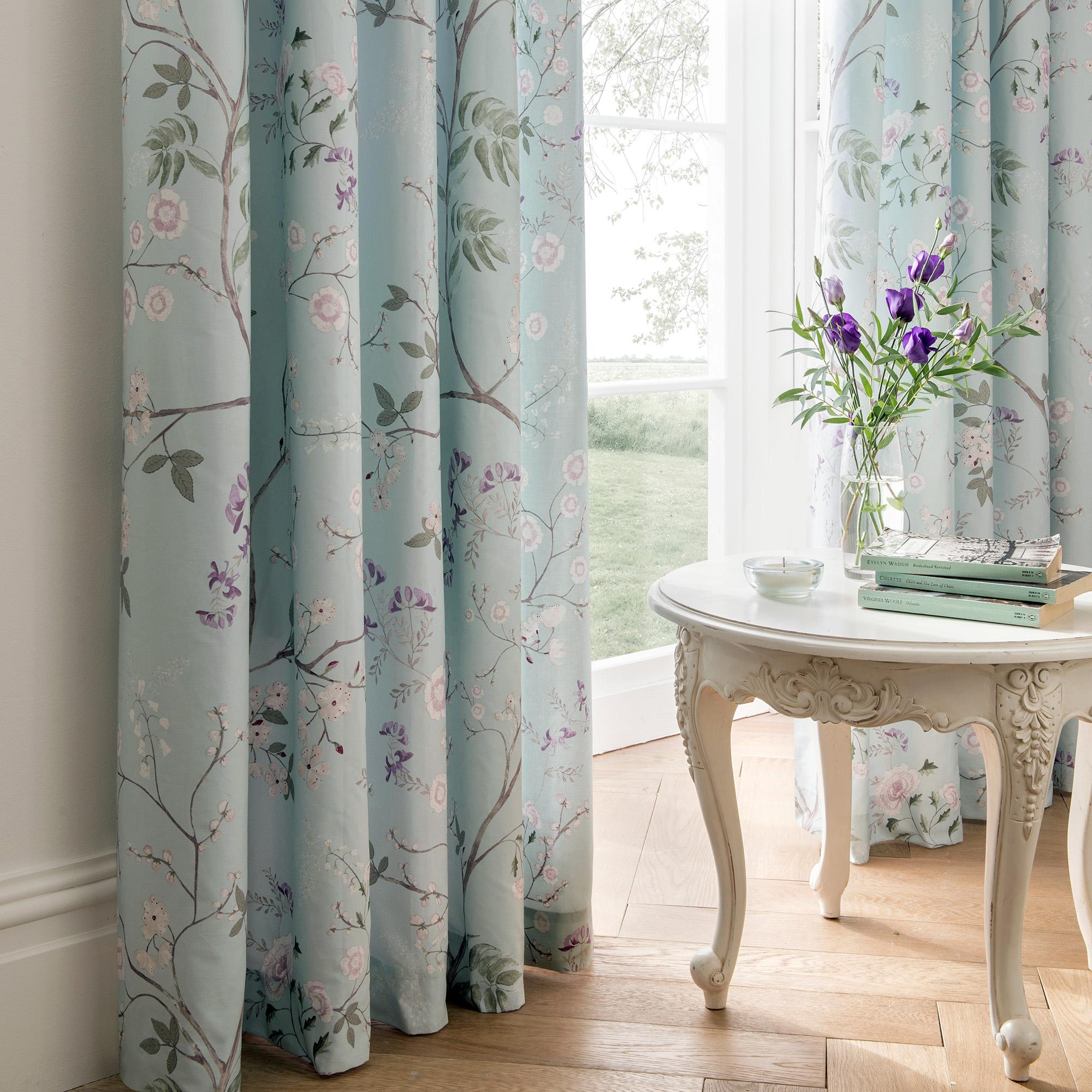 Dorma Maiya Duck Egg Lined Pencil Pleat Curtains | Dunelm