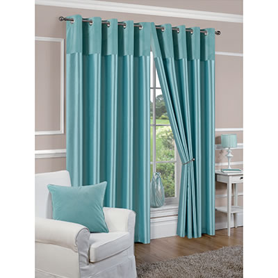 Faux Silk Lined Duck Egg Blue Eyelet Curtains
