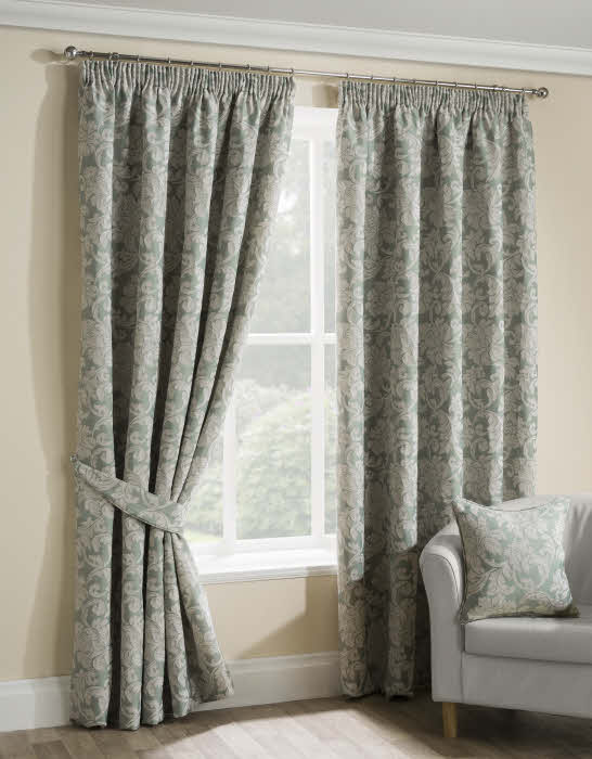 Salisbury Duck Egg,Patterned Pencil Pleat Curtains.