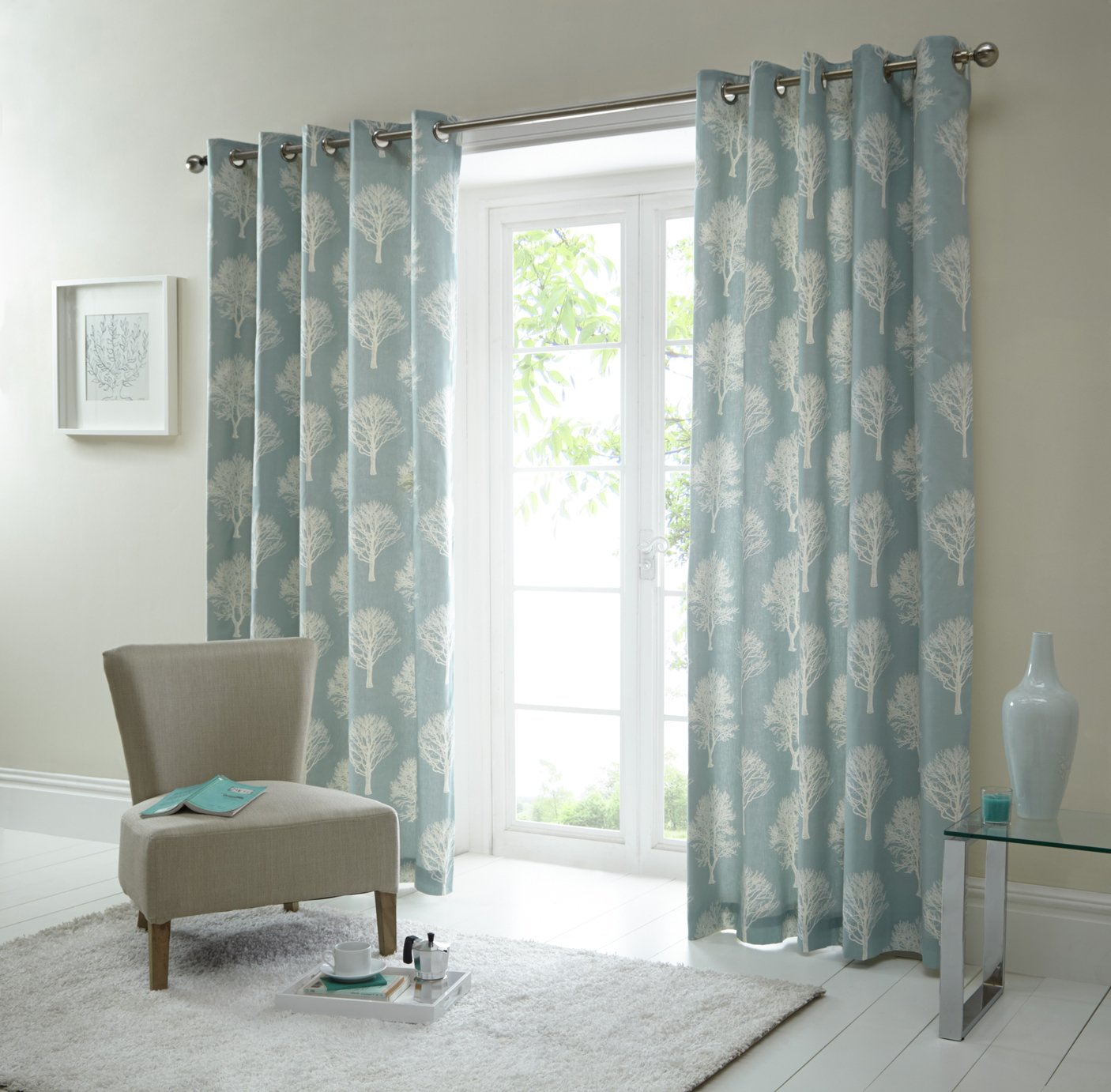 Buy Fusion Woodland Trees Curtains - 167x182cm - Duck Egg