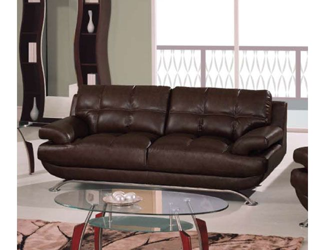 Sleek Durable Leather Sofa with Square Stitching Pattern Shop modern