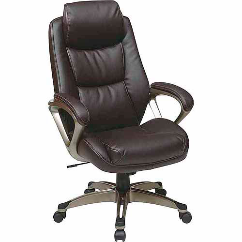 Executive Leather Office Chair with Headrest, Black - Walmart.com
