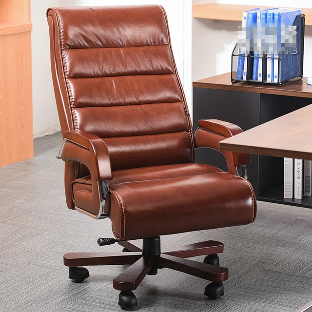 High Quality Ergonomic Leather Wooden Executive Office Chair Smart