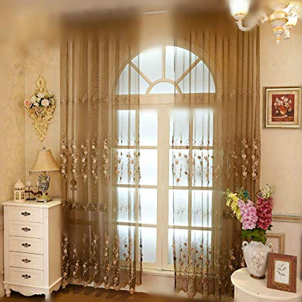 Amazon.com: WINYY Exquisite Embroidered Floral Window Curtain Panel