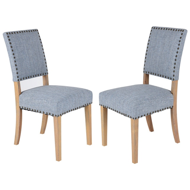 Giantex Set of 2pcs Fabric Dining Chairs with Rubber Wood Legs Home