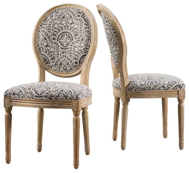 Hawthorne Black and White Patterned Fabric Dining Chairs, Set of 2