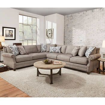Kerrington 2-piece Fabric Sectional - Gray | Living Room | Fabric