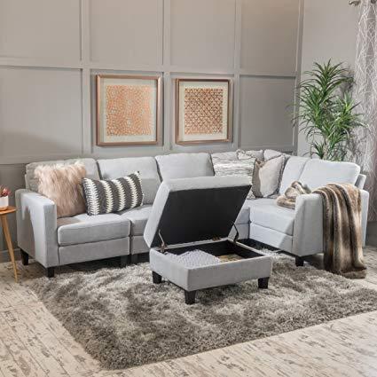Amazon.com: Carolina Light Grey Fabric Sectional Couch with Storage