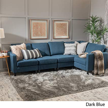 Amazon.com: Carolina Dark Blue Fabric Sectional Sofa: Kitchen & Dining