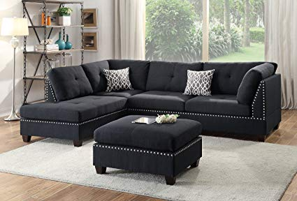 Amazon.com: Modern Contemporary Polyfiber Fabric Sectional Sofa and