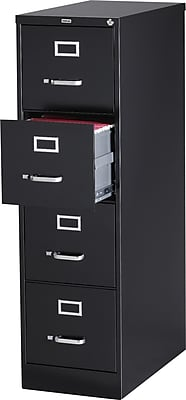 Staples 4-Drawer Letter Size Vertical File Cabinet, Black (26.5-Inch