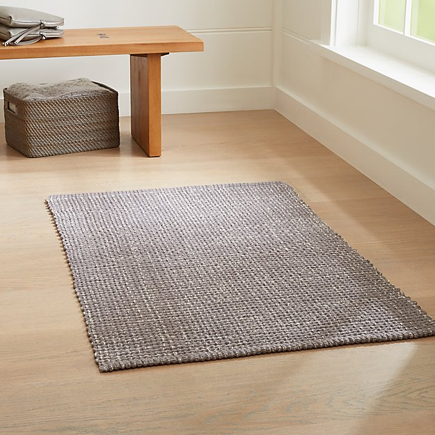 Della Grey Cotton Flat Weave Rug | Crate and Barrel