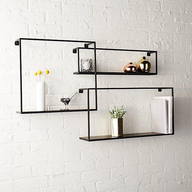 set of 3 iron floating shelves + Reviews | CB2