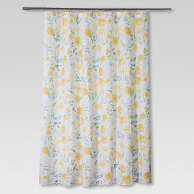Floral Shower Curtain Yellow/Blue - Threshold™ : Target