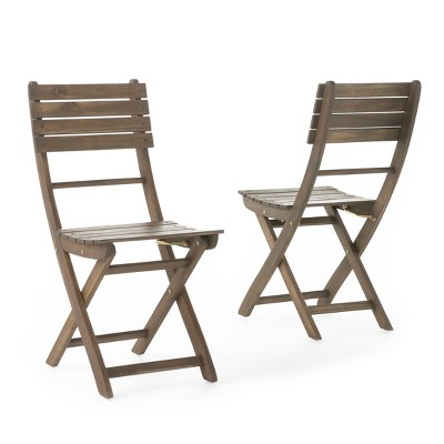Positano Set Of 2 Acacia Wood Foldable Dining Chairs - Christopher