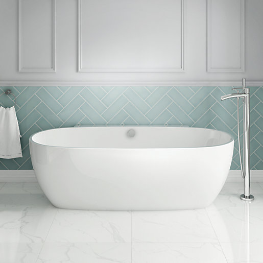 Wickes Palmari Contemporary Freestanding Back to Wall Bath - 1750mm