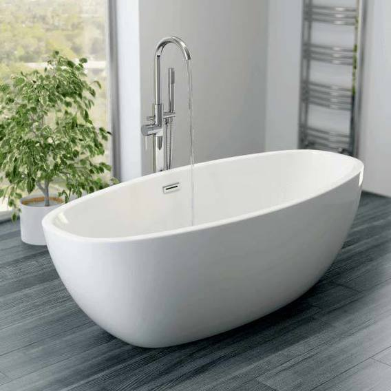Affine Blanc Freestanding Bath 1700mm with Built-In Waste