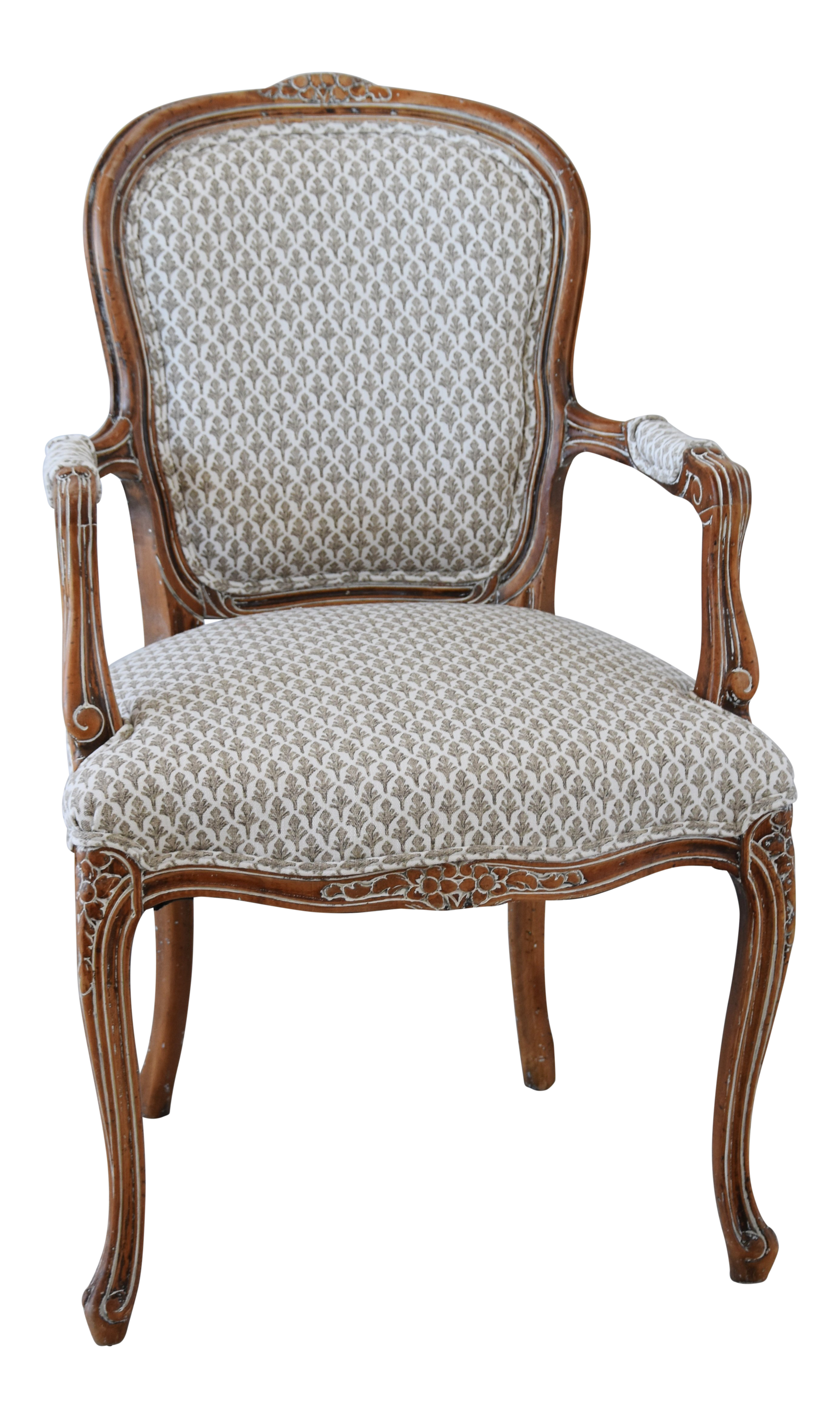 1950s Carved Wood Upholstered French Armchair | Chairish