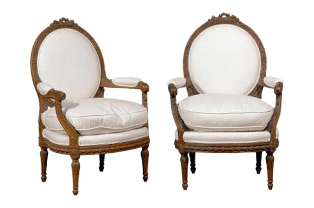 ON HOLD - Pair of French Louis XVI Style Upholstered Armchairs from
