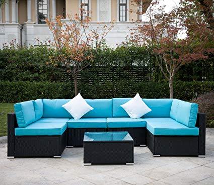 Amazon.com : Outdoor Rattan Patio Garden Furniture PE Wicker Sofa w