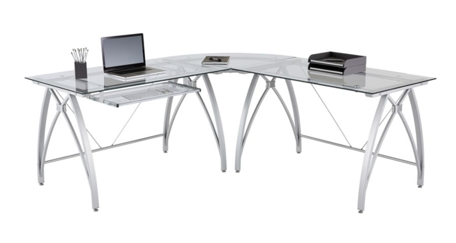 Realspace Vista L Shape Computer Desk Silver - Office Depot